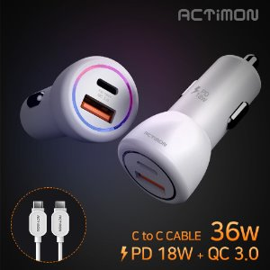 36W 고속 차량용충전기 USB2구 PD 18W + QC 3.0CtoC CABLEMON-C-PD-36W-CP